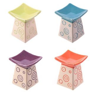 Ceramic Oil Burner Square Top with Swirls Pattern